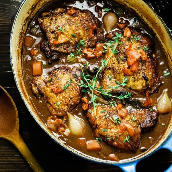 Coq Au Vin For Two Chicken In Red Wine Sauce Recipe French Cooking Recipes French Recipes Authentic French Cuisine Recipes