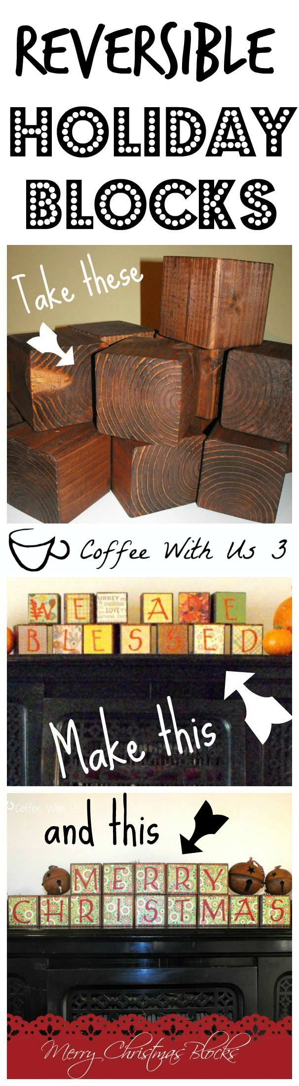 Super easy holiday blocks that ANYONE can do! Plus make 1 set and be ready to decorate for both Thanksgiving and Christmas!