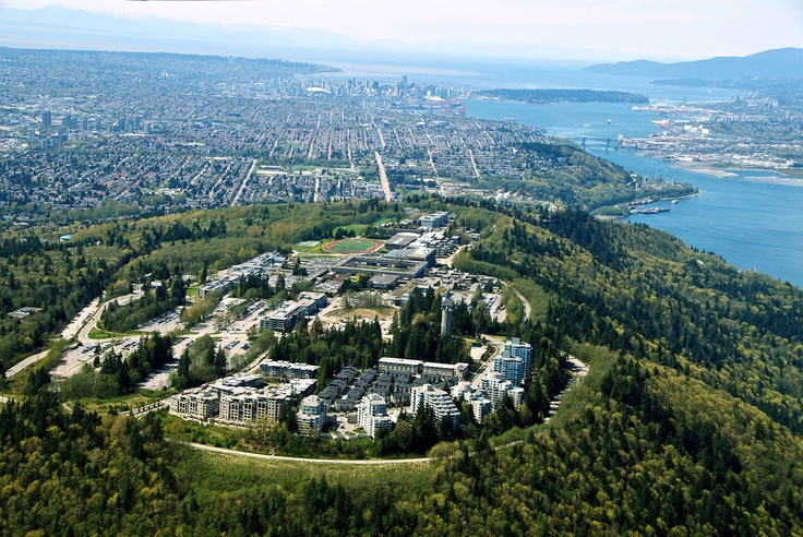 An aerial view of the SFU Burnaby campus. All those residences at the bottom of the photo weren't there back in 1992!