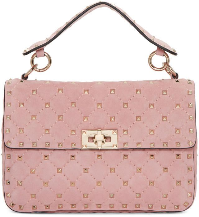 Valentino #Blush Pink #Bag with iconic Gold Studs and #Gold Hardware | #Millenial Pink | #Ad