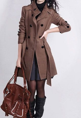 Wanna a warm coat to warm your cold winter? This solid color coat maybe your best choice. Solid color, double breast, long sleeve with button decoration. With the sash design, tie a bowknot to show your perfect body curve and add sweet element to your ensemble.