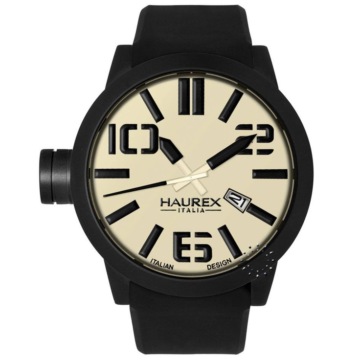 HAUREX TURBINA Black Rubber Strap, 168€ http://www.oroloi.gr/product_info.php?products_id=27951