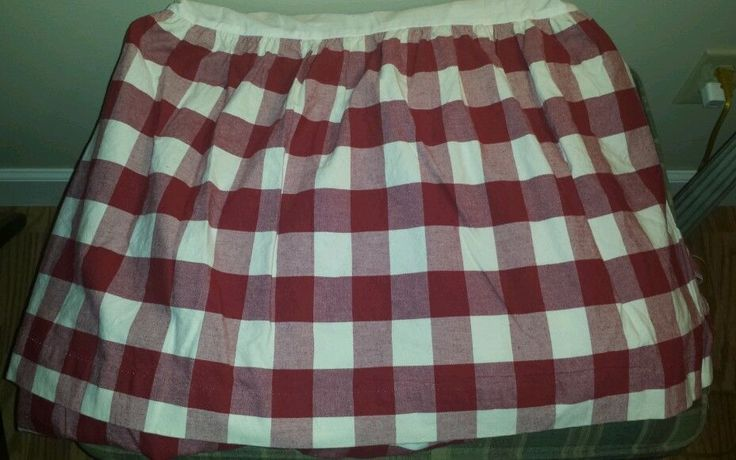 Vintage Country Curtains Red Plaid Queen Bed Skirt 139 50
