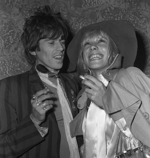 "Keith Richards, guitarist of the Rock Band ""The Rolling Stones"", left, is pictured with his girlfriend West German actress Anita Pallenberg, ..."