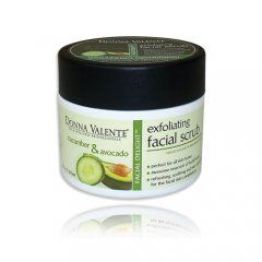 Cucumber & Avocado Exfoliating Facial Scrub 210gr. Available now at www.pharmeden.co.uk