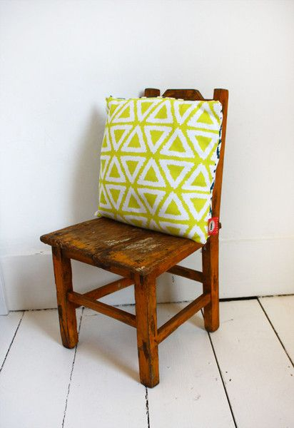 Children's cushion, interiors, triangle print, yellow, The Bright Company Bantum cushion SS14