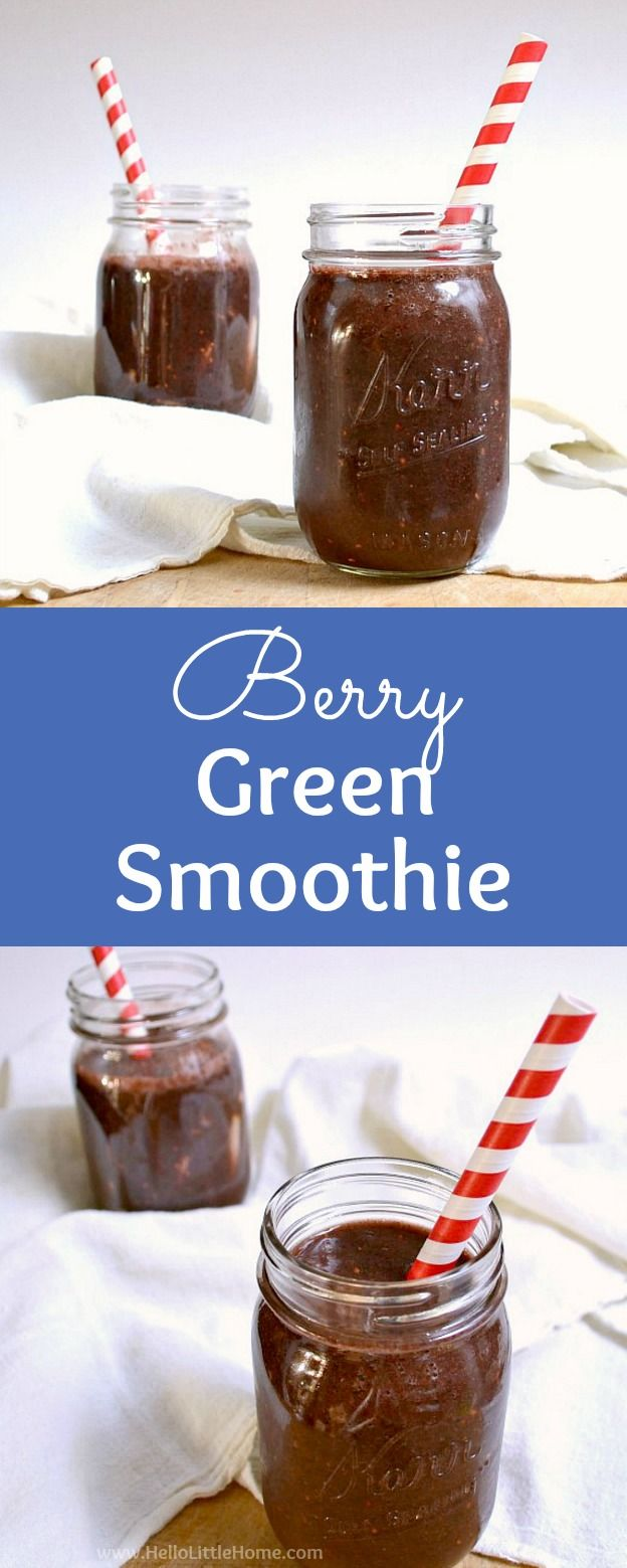 Berry Green Smoothie recipe … this healthy green smoothie makes a delicious breakfast, snack, or meal replacement! Learn how to make a simple green smoothie that tastes good with bananas, berries such as strawberries, raspberries, or blackberries, green tea, spinach, and a pear. This is the best vegan green smoothie and it's perfect for a gluten-free, clean eating diet! | Hello Little Home #greensmoothie #smoothie #smoothierecipe #berries #berrygreensmoothie #drinkrecipes