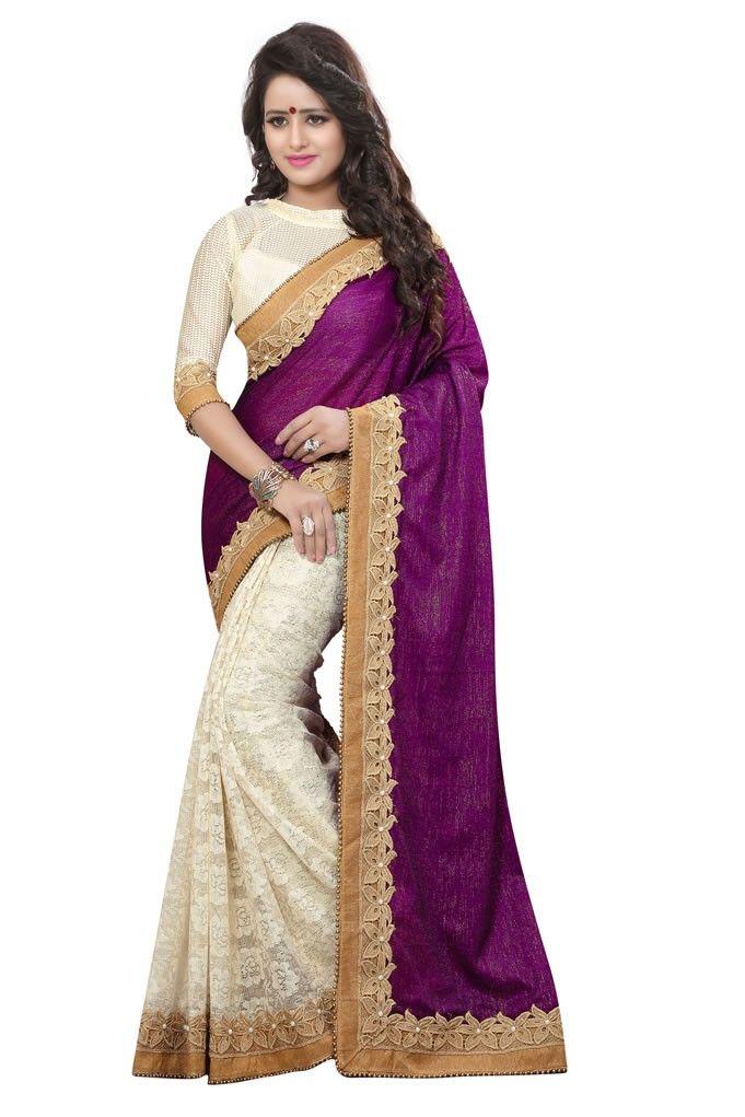 01998e4eb10e buy saree online Violet and Cream Colour Heavy Jari With Moti Border Work  Half…