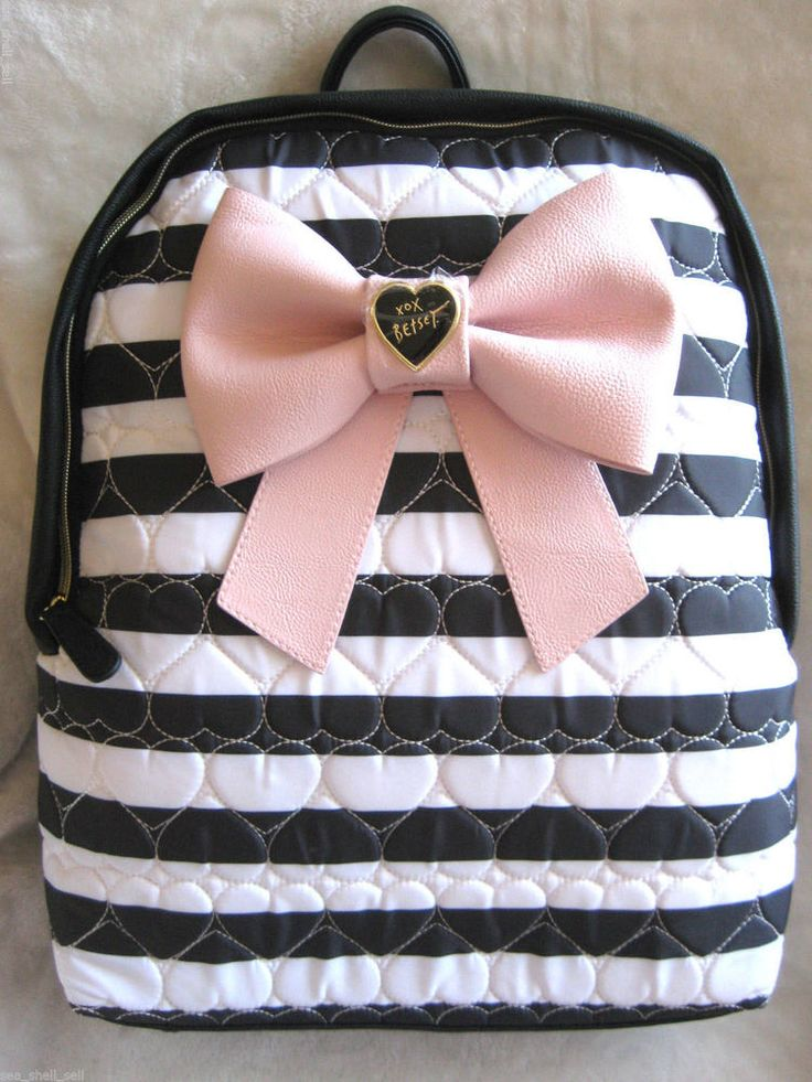 """Betsey Johnson Backpack """"Bow Nanza"""" Heart Quilted Black White Stripe Pink NWT #BetseyJohnson #BackpackStyle"""