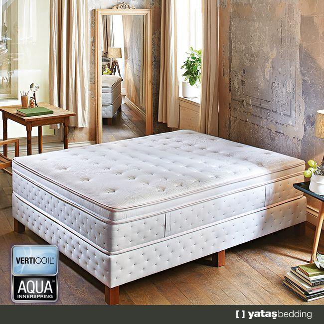 Verticoil® Edge™ yay ile bel bölgesine özel destek sağlayan UltraWaist Bel Destek sistemleri sayesinde Verticoil Aqua yatak, bulutların üzerinde uyku hissi verir.  Yıkanabilir ince pedi ve farklı destek seviyelerine sahip çıkarılabilir çift taraflı kalın pedi ile ekstra konforlu, temiz bir uyku sunar.