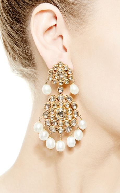 Pearl Indian Earrings In Gold by Kirat Young for Preorder on Moda Operandi