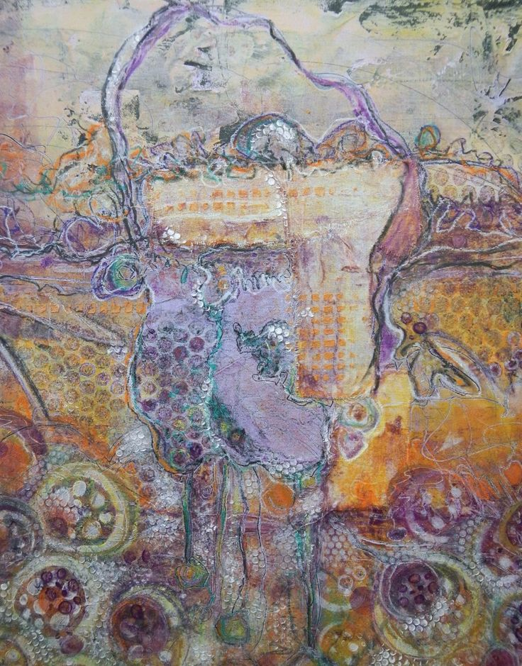 PURPLE FIELD –  This painting is done in coldwax, pigment, oil paint and other elements/collage. Voiladesign.ca by Hélène Tremblay