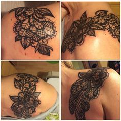 Tattoo Schulter shoulder lace mandala woman