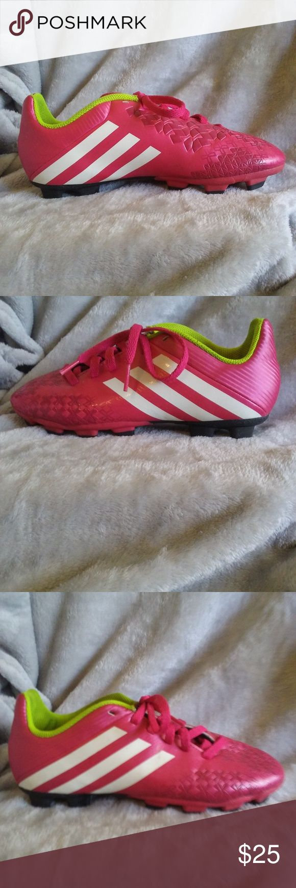 Adidas Boys Youth Pink Soccer Cleats Size 3 Nice pair of pink with white stripes boys or girls Adidas soccer cleats size 3. adidas Shoes