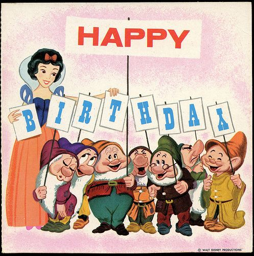 1964 Birthday Card Record snow white & the seven dwarfs