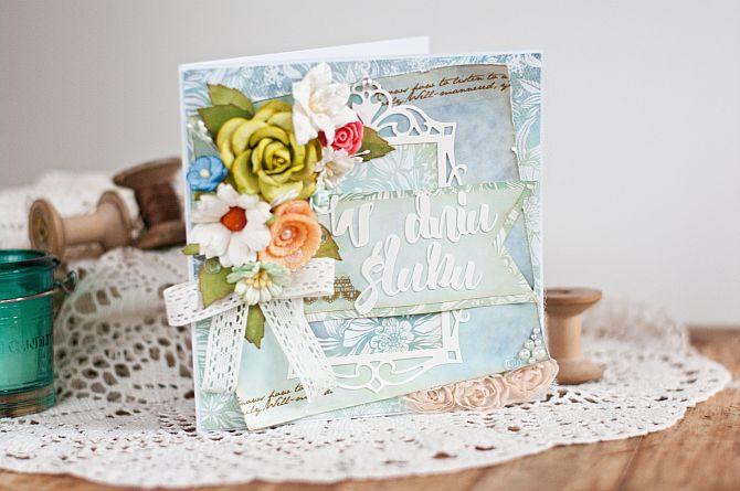 Kartki ślubne z bukietem