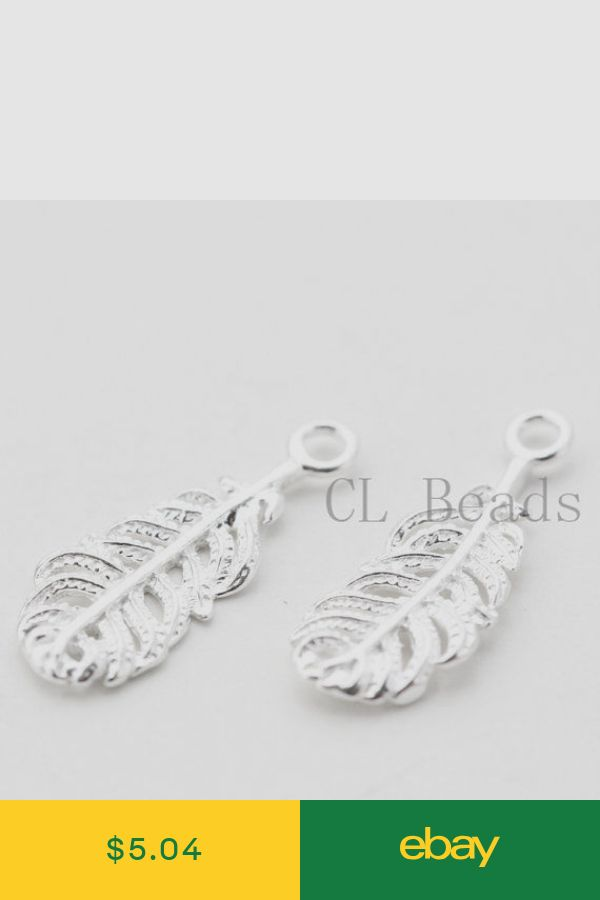 One Pair Sterling Silver Feather Charm 18x7mm 2 Pieces