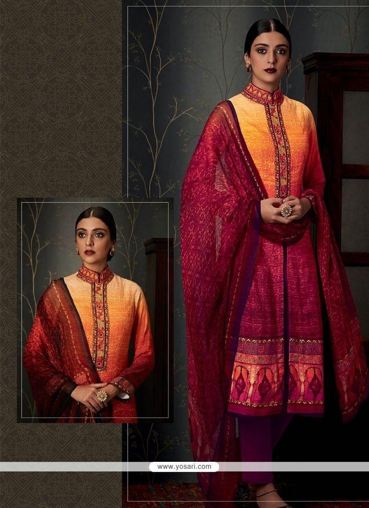 Impressive Pashmina Multi Colour Print Work Designer Straight Salwar Suit Model: YOS7960