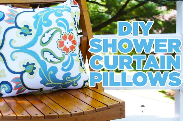 Have An Extra Shower Curtain Lying Around? Turn It These Adorable Outdoor Patio Pillows
