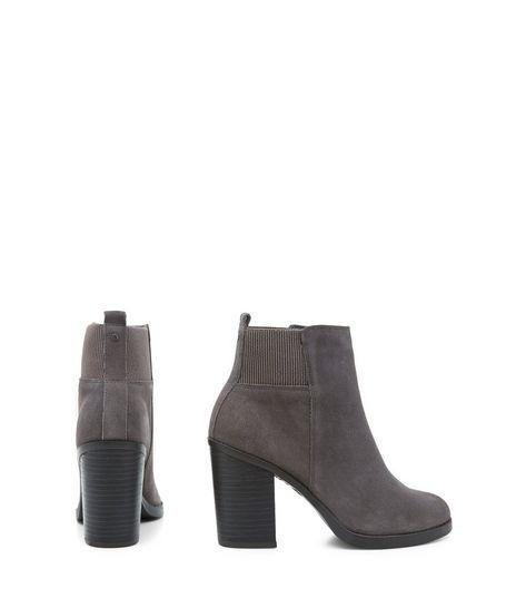 Grey Suede Block Heel Chelsea Boots | New Look