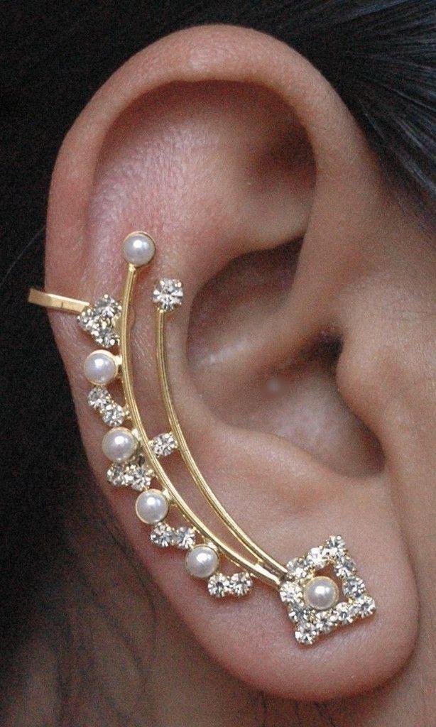Trendy Russian Lab Diamond 14K Gold and Pearl Jhumka Jhumki Cuff Ear Jacket Earrings