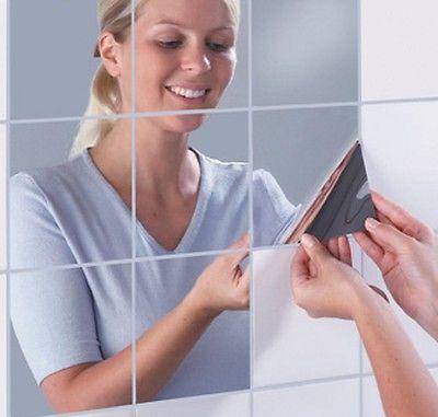 MIRROR TILE stickers SELF ADHESIVE transfers KITCHEN BATHROOM TILES MOSAIC CRAFT in Home, Furniture & DIY, DIY Materials, Flooring & Tiles   eBay