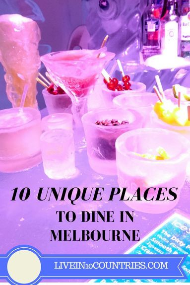 10 unique, unusual dining experiences in Melbourne 2017. Looking for the best quirky and eccentric restaurants in Melbourne Australia? Or Victoria? I went hunting in Melbourne for a chance to eat out somewhere truly unique and Melbourne served up. Why settle for the best restaurants when you can have the most unique and eclectic? From an Ice Bar, to a Titanic Reconstruction, to a Harry Potter theme night. We've got eccentric Melbourne restaurant interiors, crazy restaurant menus, food ideas.