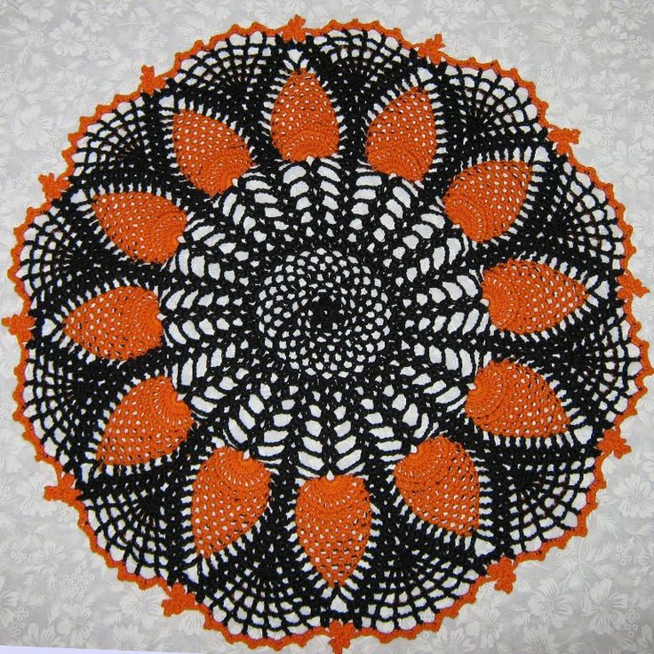 quick and easy halloween crocheting | Pineapple Halloween doily http://www.etsy.com/listing/51760626/crochet ...