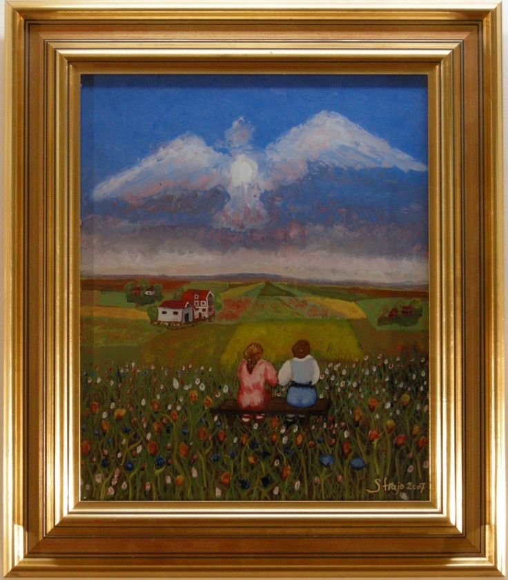 """At the country. Painting on glass made by Strahinja Novovic """"Straja"""". Living in Sweden."""