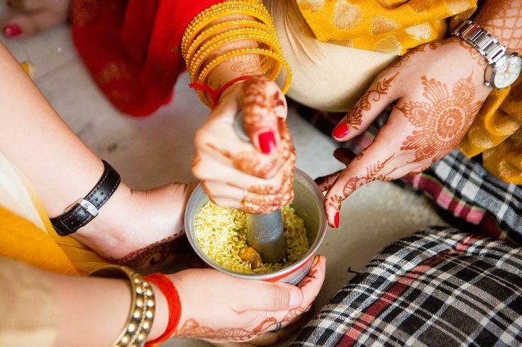 Haldi ceremony at Indian wedding, Delhi summer wedding, bride's sisters, indian customs, traditions, candid wedding photography