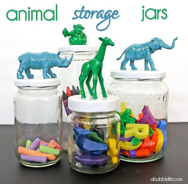 A Bubbly Life: Animal Jar DIY! This would be really cool with white or black paint as well :)