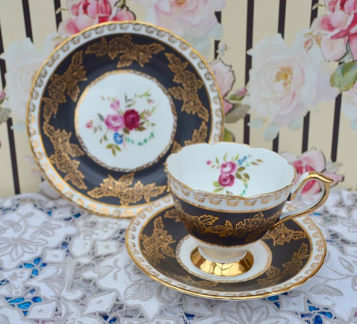 Sutherland Tea Trio - Tea Cup, Saucer, Tea Plate, Vintage Bone China, Black, Gilt and Floral, Very Good Condition, Elegant and Rare by ImagineHowCharming on Etsy