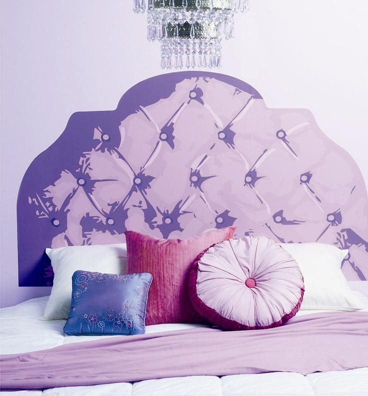 Wallies Purple Tufted Headboard Wall Sticker