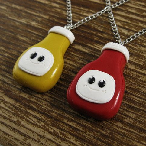 Another odd friendship analogy courtesy of all of us here at rapscallion!  This pair of cute little condiment buddies are a great way to symbolize friendship or love.  Now the only issue is deciding who will hold the mustard.  - hand sculpted high quality polymer clay - glazed for a nice shi...
