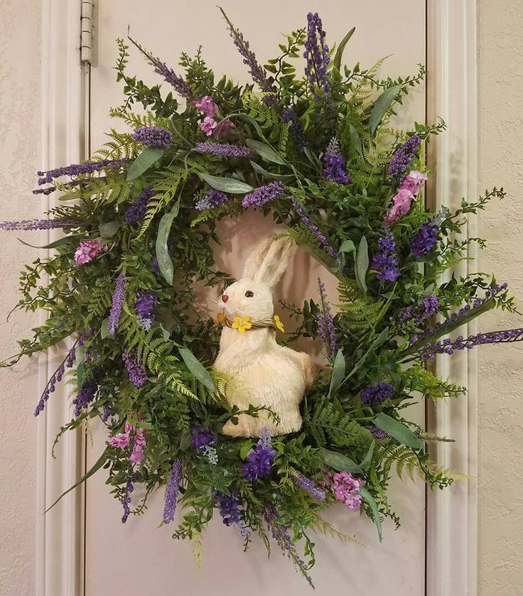 Lavender Wreath, Easter Wreath, Spring Wreath Mothers Day Wreath, Birthgday Gift, Rabbit Wreath, easter Decor,Spring Decor,Front Door Wreath by SouthTXCreations on Etsy