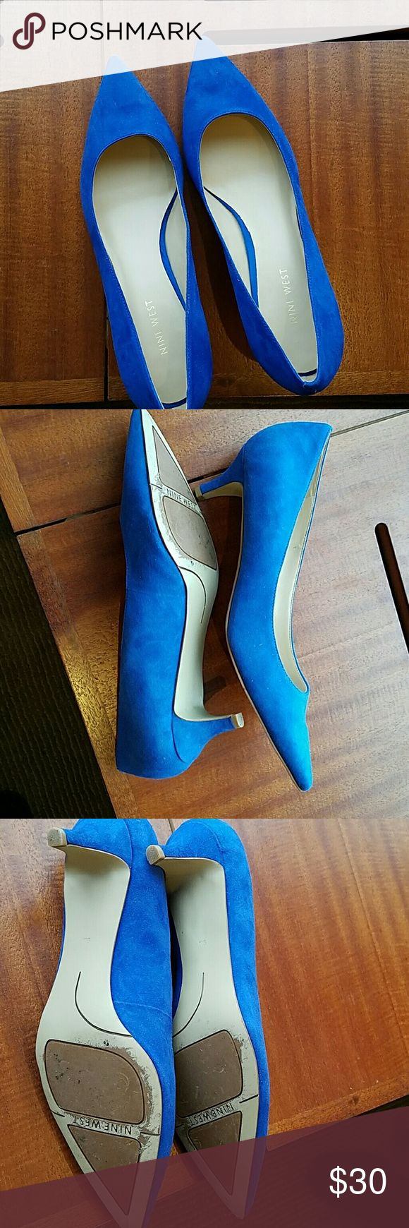 Nine West gorgeous blue suede heels Gorgeous blue suede kitten heel pumps pointy front worn1x. Smoke and pet free home. No box Nine West Shoes Heels