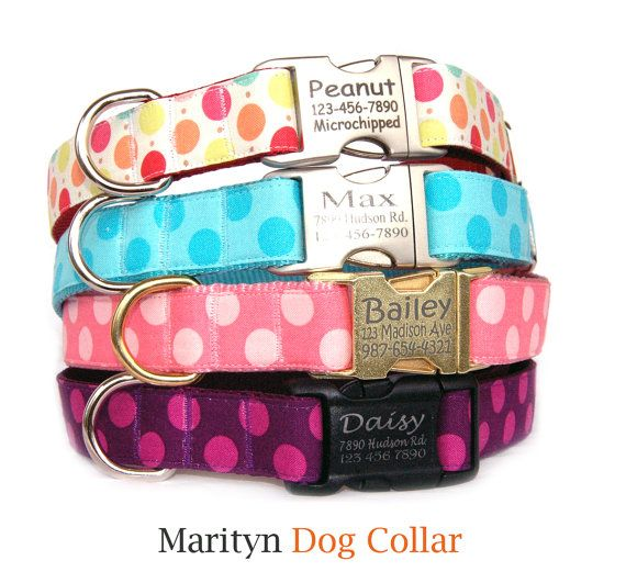 How cute are these?!?  Polka dots personalized dog collar ID tag by MaritynDogCollar