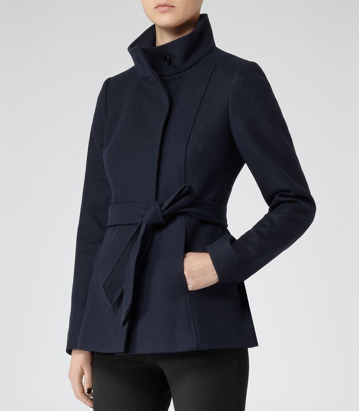 Womens Lux Navy Belted Wool Jacket - Reiss Hermitage