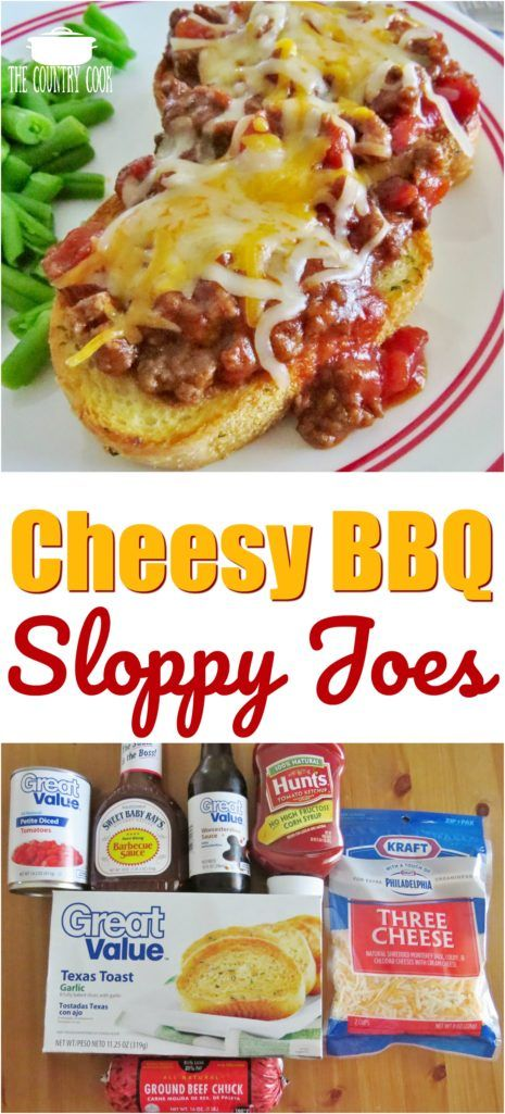 Cheesy BBQ Sloppy Joes recipe from The Country Cook  #groundbeef #easy #dinner #ideas #recipes