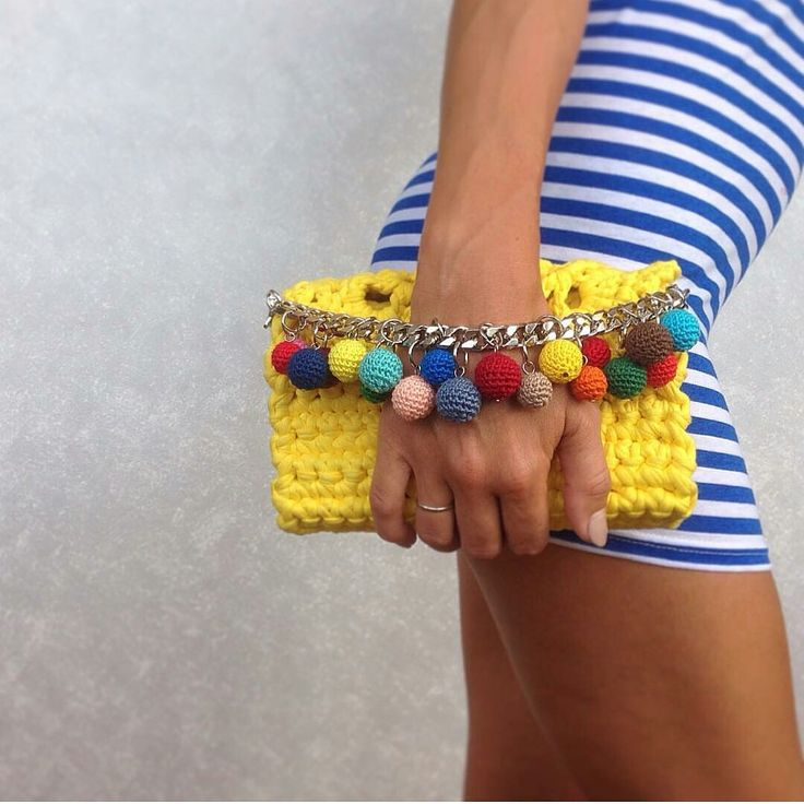 Little Yellow Handbag | Crochet Lace Handbag | Little Crossbody Bag | T shirt Yarn Crossbody Bag | Yellow Clutch Bag | Chain Clutch bag