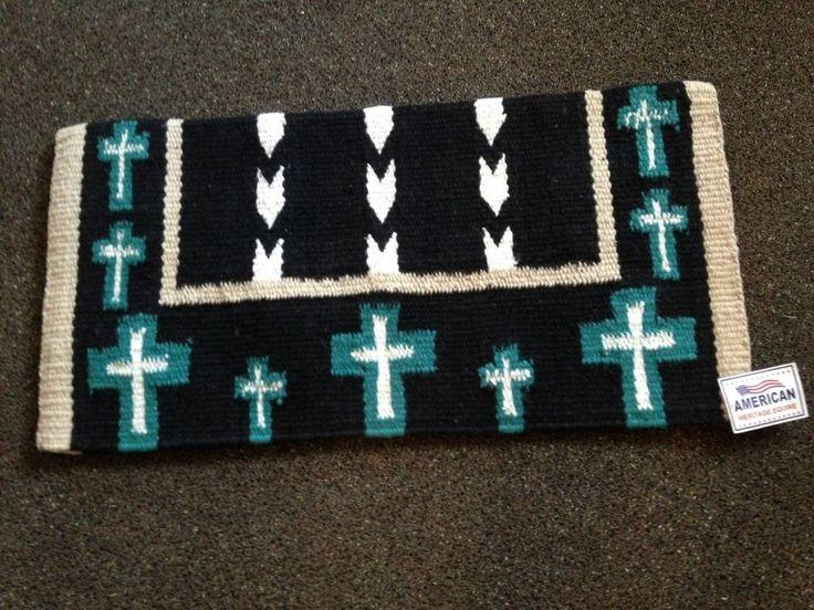Wool 36x34 4lb Western Horse Saddle Blanket Pad Teal w/Crosses and Navajo Design #AmericanHeritage