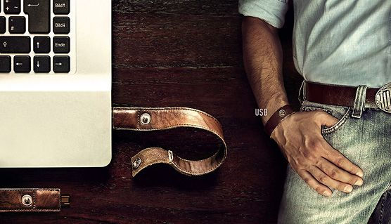 Never lose another USB thumb drive again with this snazzy leather wristband #gadget #usb - PS: It's not available yet.