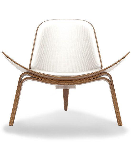 Hans Wegner Shell Chair in Maharam Textiles Minimal, Walnut Finish | Carl Hansen & Son