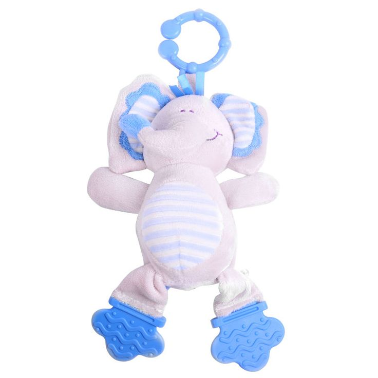Blue Elephant Teether Crib Toy Gift Nursery Gear Baby Plush Teething Infant