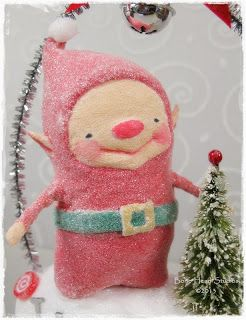 Jingles Christmas spun cotton elf.  I know it's cotton, but what a great model for a face and body shape!