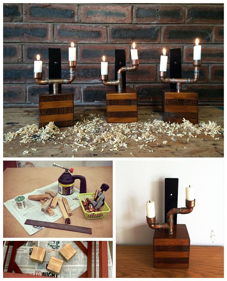 Reclaimed Wood and Copper Pipe Candle Holders.  Base is pinewood offcuts glued into a cube with candle holder from copper pipe fittings.  Set of 3.