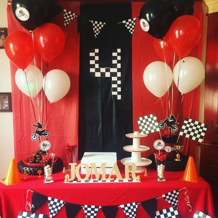 Dirt bike Birthday party. Cake table