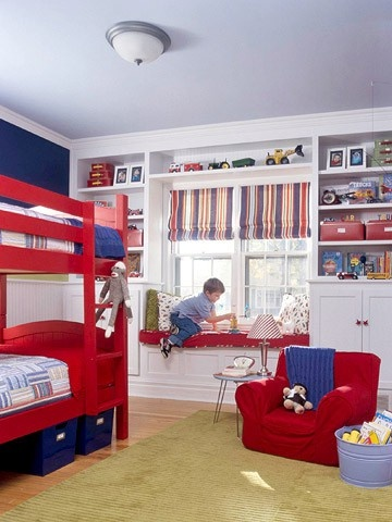 Boys room...play room...built in shelves (red bunk bed!)