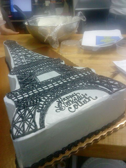 Intricate buttercream piped Eiffel Tower cake by Home Sweet Nothings