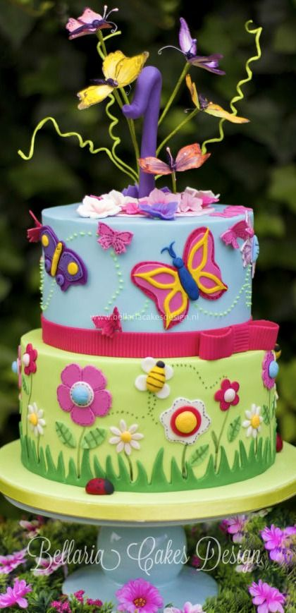 Butterflies Garden Birthday Cake
